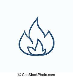 Fire  sketch icon.