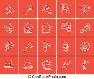 Fire sketch icon set.