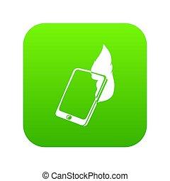 Fire smartphone icon green