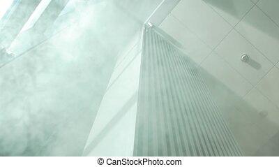 Fire smoke in the office building indoor