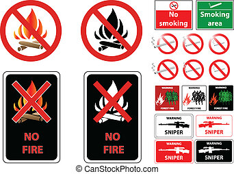 fire smoke weapon prohibit signs
