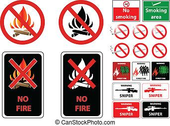fire smoke weapon prohibit signs