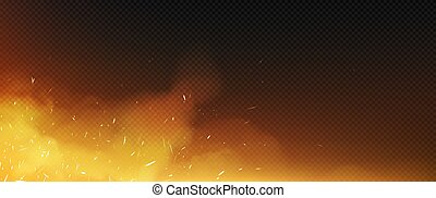 Fire sparks with smoke border, flying up particles and embers. Vector realistic heat and glow effect of flame in burning bonfire, from blacksmith works or hell isolated on transparent background