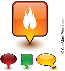 Fire speech comic icons.