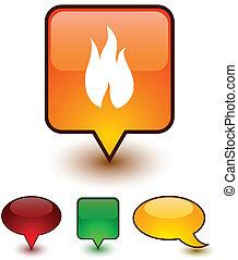 Fire speech comic icons.