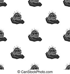 Fire spell icon in black style isolated on white background. Black and white magic pattern stock vector illustration.