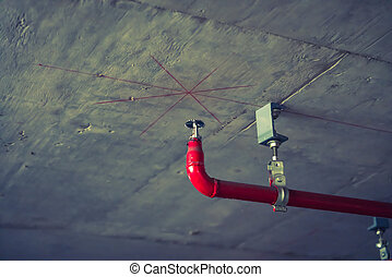 Fire sprinkler and red pipe ( Filtered image processed ...