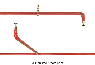 Fire sprinkler and red pipe isolated on white background