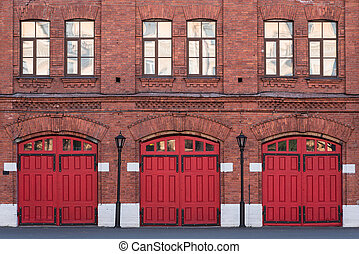 Fire station, an old historic brick building