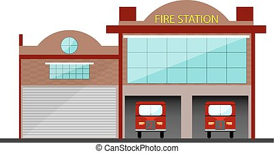 Fire Station building, vector isolated object with two cars