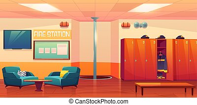Fire station empty interior, firefighters workplace with steel pole, signaling, lockers with uniform, armchairs, TV and information stand hanging on wall, room inner design Cartoon vector illustration