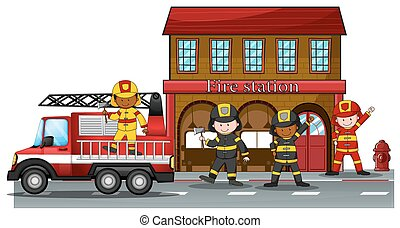 Fire station - Firefighters working at the fire station