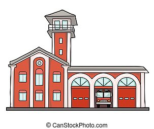 fire station - Fire station. Old brick building. Garage for...