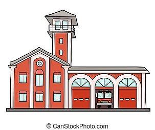 fire station - Fire station. Old brick building. Garage for...