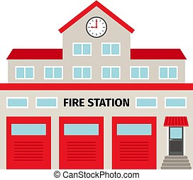 Fire station flat colorful building icon