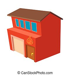 Fire station icon, cartoon style