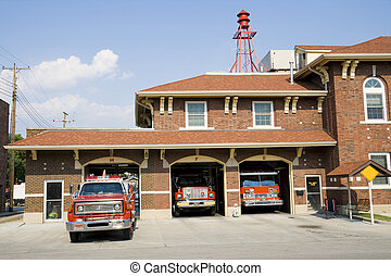 Fire station in a small town in American Midwest