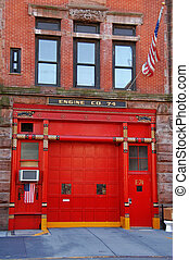 Fire station, New York - Red door of a fire station, New...
