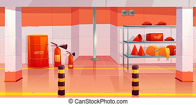 Fire station or garage empty interior utility room - Fire ...