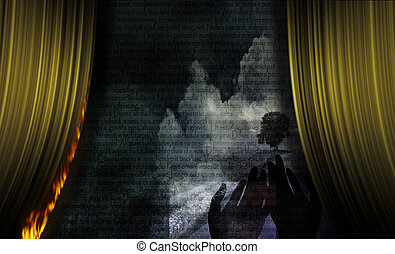 Fire - Burning Curtain Abstract