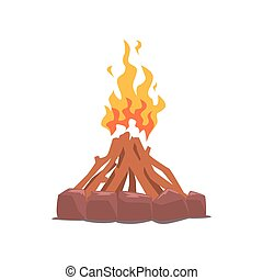 Fire surrounded with stones cartoon vector Illustration