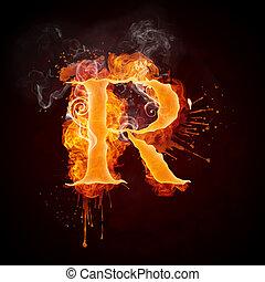 Fire Swirl Letter R