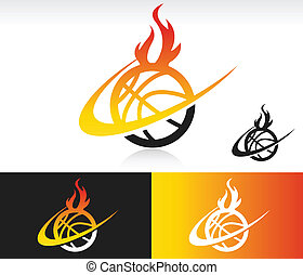 Basketball icon with fire and swoosh graphic element.