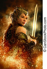 Fire Sword, 3d CG - 3D computer graphics of a female warrior...