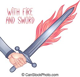 fire., sword., inspirado, mano, vector, tenencia, estilo gótico, art., ilustración, isolated., espada, vendimia