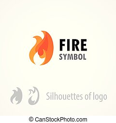 Fire symbol, logo emblem isolated on white - Style vector illustration of flame.