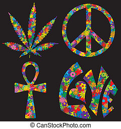 fire, symboler, blomst, fyldte, 60