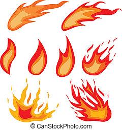 Fire symbols.