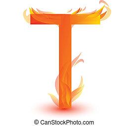 Fire T letter image design vector