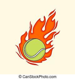 Fire Tennis Ball vector Illustration