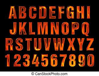 fire text. Alphabet of fire. red-hot metal text