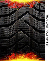 fire tire - black abstract background with red flame and...