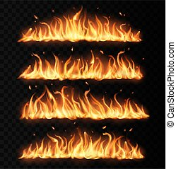 Fire tongues, long burning realistic vector flame with particles, flying sparks and embers. Burning blaze effect, glowing shining flare border, isolated 3d fire design element on black background, set