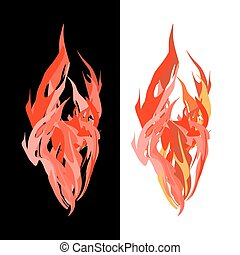 Fire. Tongues of flame on white and black background. Vector illustration.