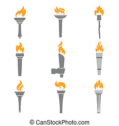 Fire Torch Icons - Fire torch victory champion flame icons...