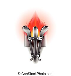 Fire torch isolated on white vector