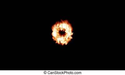 Fire transition circle ring flames burn 4k