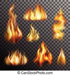 Fire Transparent Set - Realistic burning fire transparent...