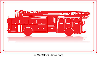A fire truck in red silhouette.