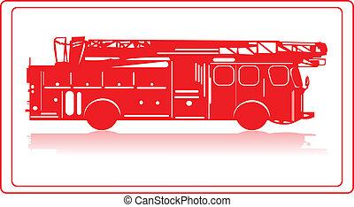 Fire truck. - A fire truck in red silhouette.