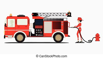 Fire truck - A woman firefighter with a fire truck with a ...