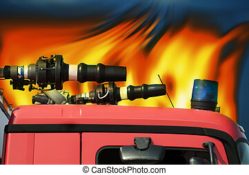 Fire truck and flames