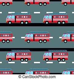 Fire truck car vector illustration seamless pattern cartoon...