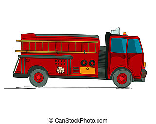 Fire truck cartoon sketch over white background