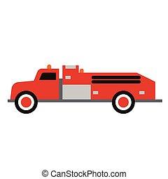 Fire truck flat illustration on white