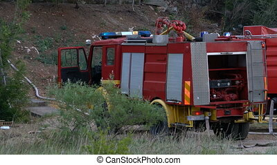 Fire truck for the fire extinguishing - Fire truck in place...